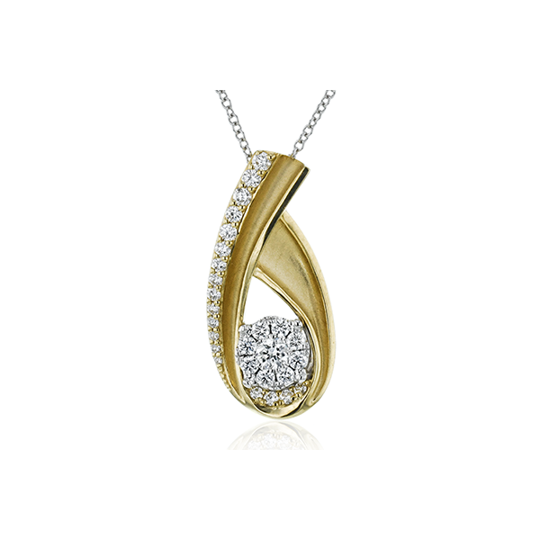 Simon G. Diamond Necklace in Yellow and White Gold Bremer Jewelry Peoria, IL