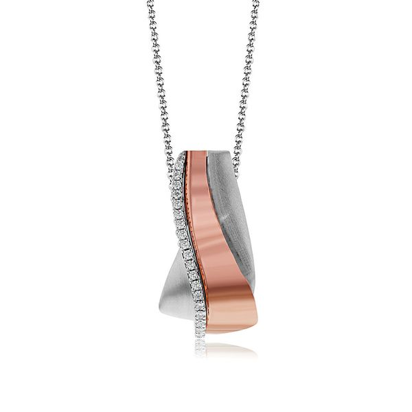 Simon G. Diamond Necklace in Rose and White Gold Bremer Jewelry Peoria, IL