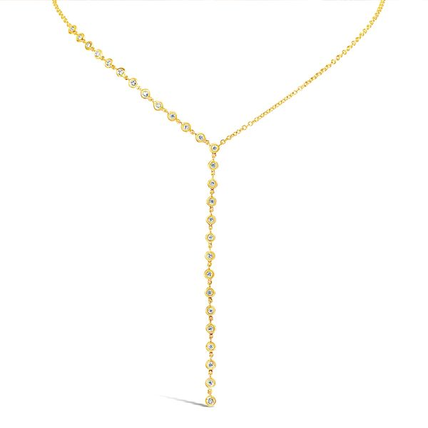 Milestones Lariat Necklace with Bezel Set Diamonds in Yellow Gold Bremer Jewelry Peoria, IL