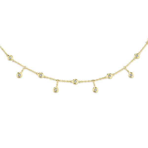 Milestones Necklace with Diamond Bezel Fringe in Yellow Gold Image 2 Bremer Jewelry Peoria, IL