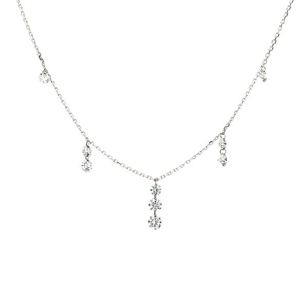 Drilled Diamond Tiered Station Necklace in White Gold Bremer Jewelry Peoria, IL