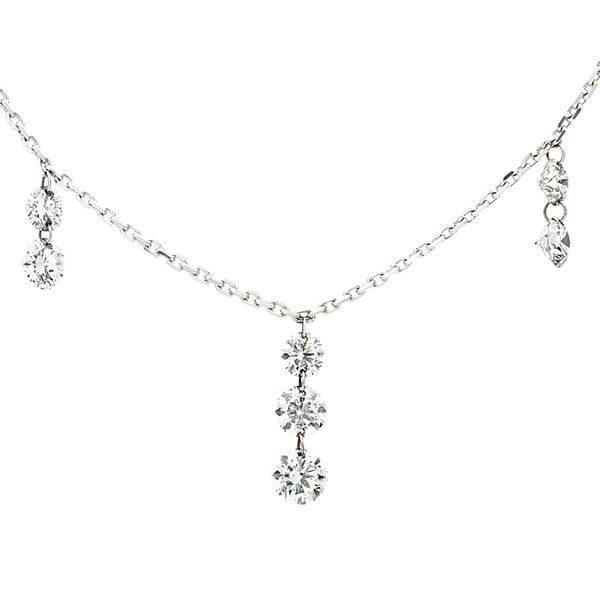 Drilled Diamond Tiered Station Necklace in White Gold Image 2 Bremer Jewelry Peoria, IL