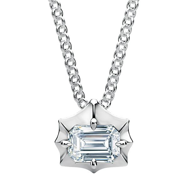 Emerald-Cut Forevermark Diamond Necklace in White Gold Bremer Jewelry Peoria, IL