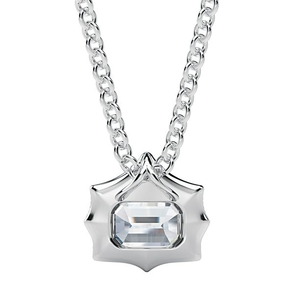 Emerald-Cut Forevermark Diamond Necklace in White Gold Image 2 Bremer Jewelry Peoria, IL