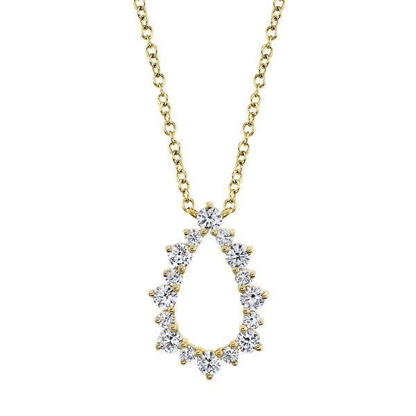 Open Pear Shape Diamond Necklace in Yellow Gold Bremer Jewelry Peoria, IL