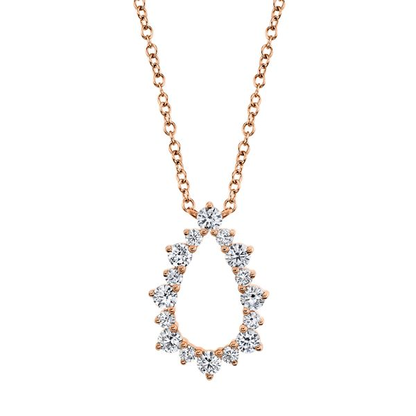 Open Pear Shape Diamond Necklace in Rose Gold Bremer Jewelry Peoria, IL