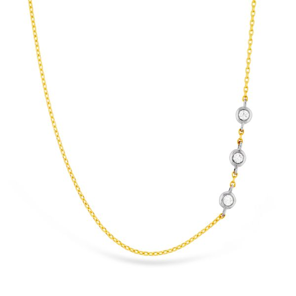 Hearts On Fire Offset Three Bezel Necklace in Yellow Gold Bremer Jewelry Peoria, IL