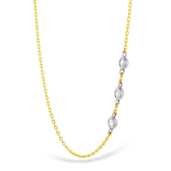 Hearts On Fire Offset Three Bezel Necklace in Yellow Gold Image 2 Bremer Jewelry Peoria, IL