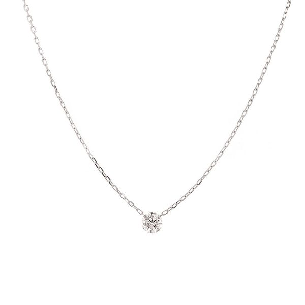 Single Drilled Diamond Necklace in White Gold Bremer Jewelry Peoria, IL