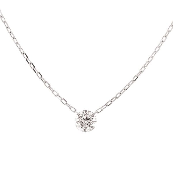 Single Drilled Diamond Necklace in White Gold Image 2 Bremer Jewelry Peoria, IL
