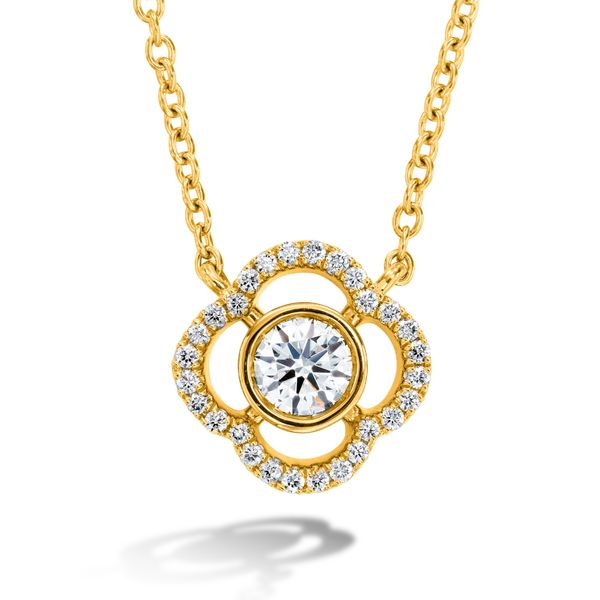 Hearts On Fire Signature Petal Bezel Necklace in Yellow Gold Bremer Jewelry Peoria, IL