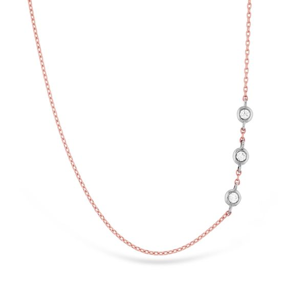 Hearts On Fire Offset Three Bezel Necklace in Rose Gold Bremer Jewelry Peoria, IL