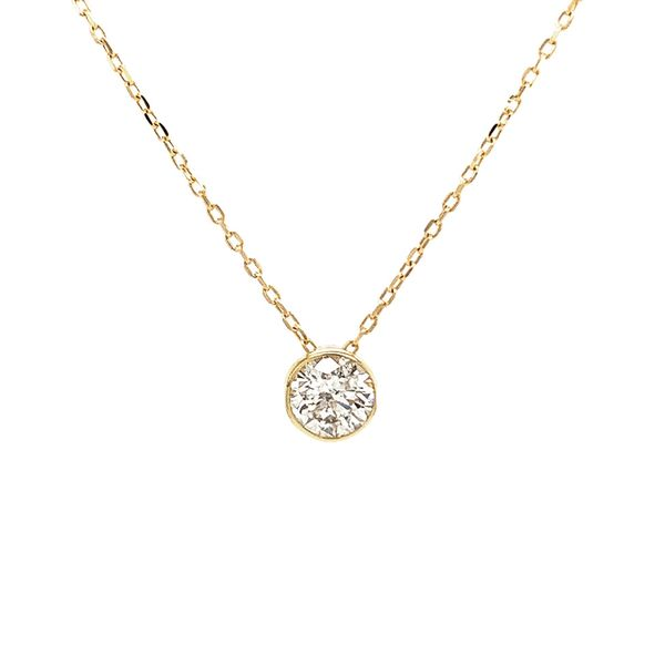Power of One Diamond Bezel Necklace in Yellow Gold Image 2 Bremer Jewelry Peoria, IL