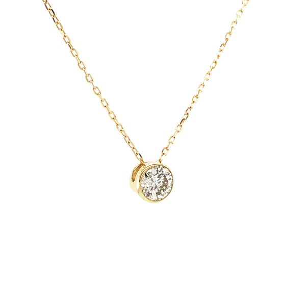 Power of One Diamond Bezel Necklace in Yellow Gold Image 3 Bremer Jewelry Peoria, IL