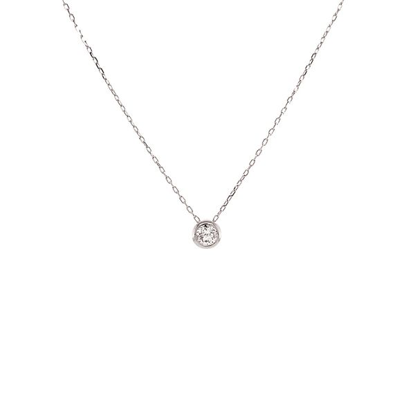 Power of One Diamond Bezel Necklace in White Gold Bremer Jewelry Peoria, IL