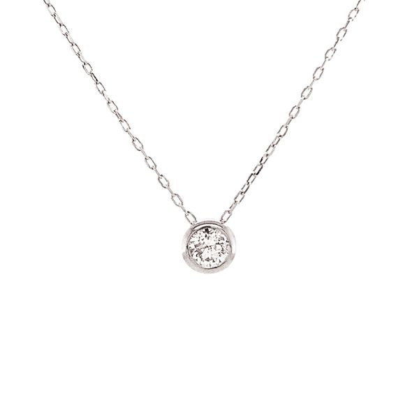 Power of One Diamond Bezel Necklace in White Gold Image 2 Bremer Jewelry Peoria, IL
