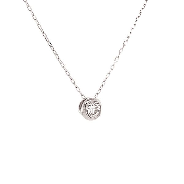 Power of One Diamond Bezel Necklace in White Gold Image 3 Bremer Jewelry Peoria, IL