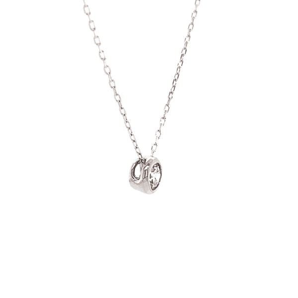Power of One Diamond Bezel Necklace in White Gold Image 4 Bremer Jewelry Peoria, IL
