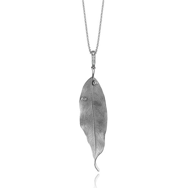 Simon G. Large Leaf Necklace with Diamonds in White Gold Bremer Jewelry Peoria, IL