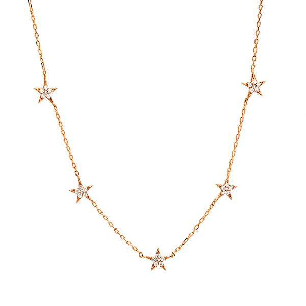 To The Moon & Back Five-Station Star Diamond Necklace in Rose Gold Bremer Jewelry Peoria, IL