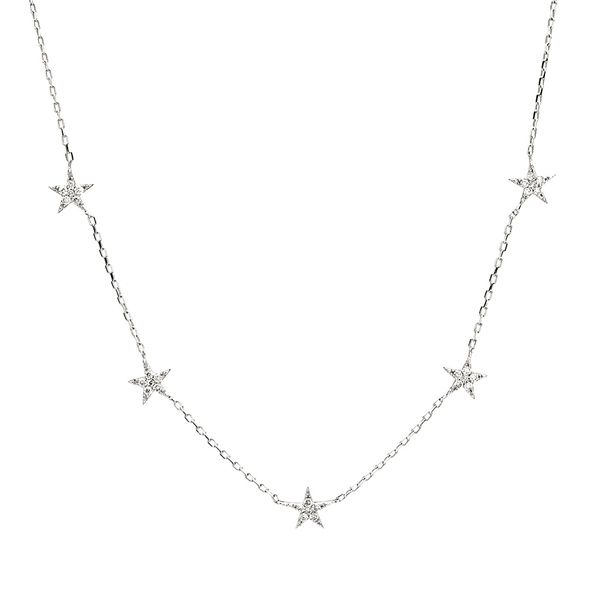 To The Moon & Back Five-Station Star Diamond Necklace in White Gold Bremer Jewelry Peoria, IL