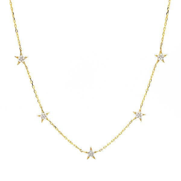 To The Moon & Back Five-Station Star Diamond Necklace in Yellow Gold Bremer Jewelry Peoria, IL
