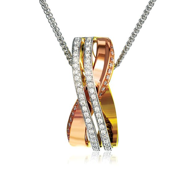 Simon G. Diamond Necklace in Rose, Yellow and White Gold Bremer Jewelry Peoria, IL
