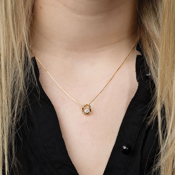 Time and Eternity Diamond Necklace in Yellow Gold (0.25 ctw) Image 2 Bremer Jewelry Peoria, IL