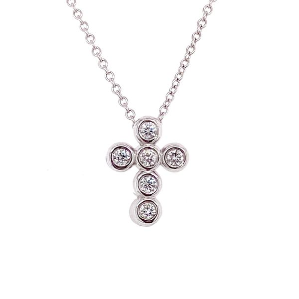 Bezel Set Diamond Cross Necklace in White Gold Bremer Jewelry Peoria, IL