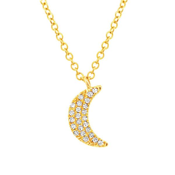 To The Moon & Back Mini Moon Diamond Necklace in Yellow Gold Bremer Jewelry Peoria, IL