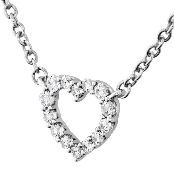 Hearts On Fire Small Signature Heart Necklace in White Gold Image 2 Bremer Jewelry Peoria, IL