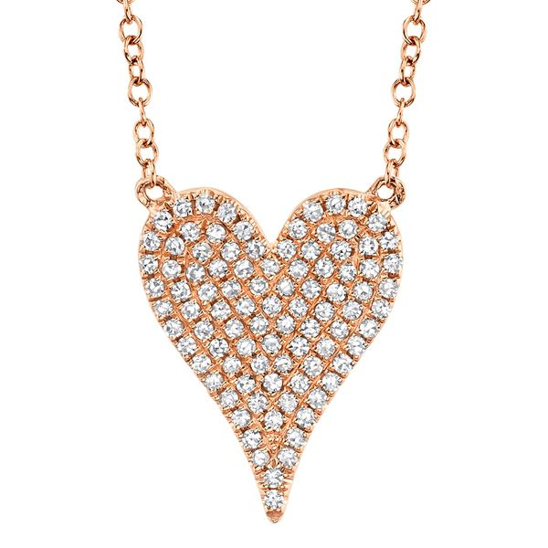 Pave Diamond Heart Necklace in Rose Gold Bremer Jewelry Peoria, IL