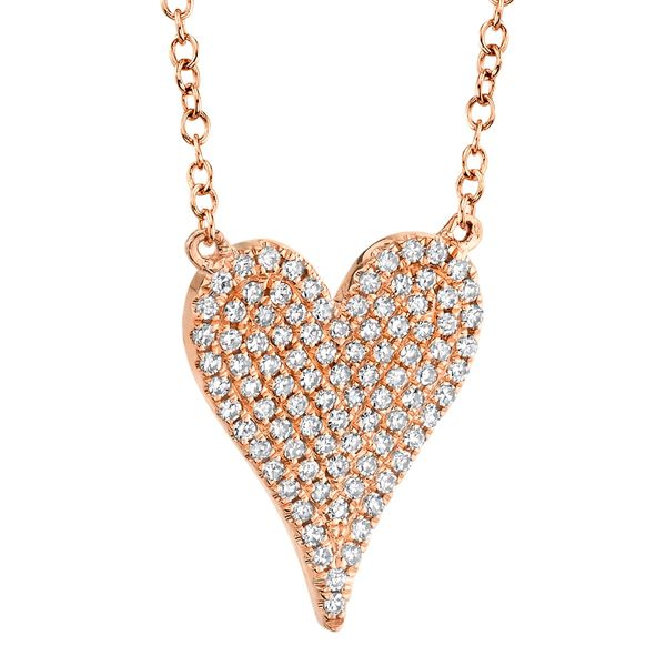 Pave Diamond Heart Necklace in Rose Gold Image 3 Bremer Jewelry Peoria, IL