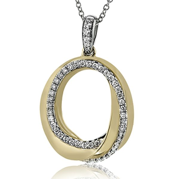 Simon G. Circle Diamond Necklace in Yellow and White Gold Bremer Jewelry Peoria, IL