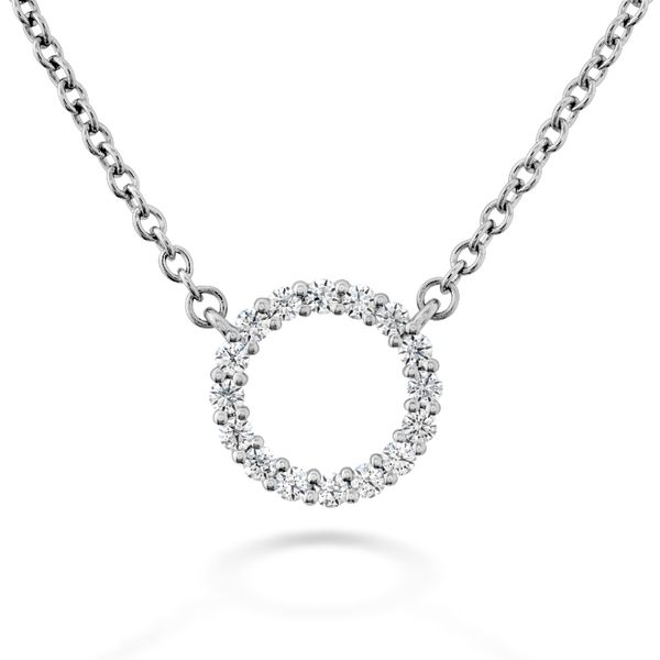 Hearts on Fire Small Circle Diamond Necklace in White Gold Bremer Jewelry Peoria, IL