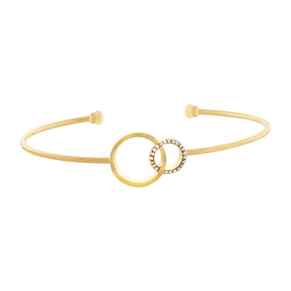 You + Me Open Bangle Bracelet with Diamonds in Yellow Gold Bremer Jewelry Peoria, IL