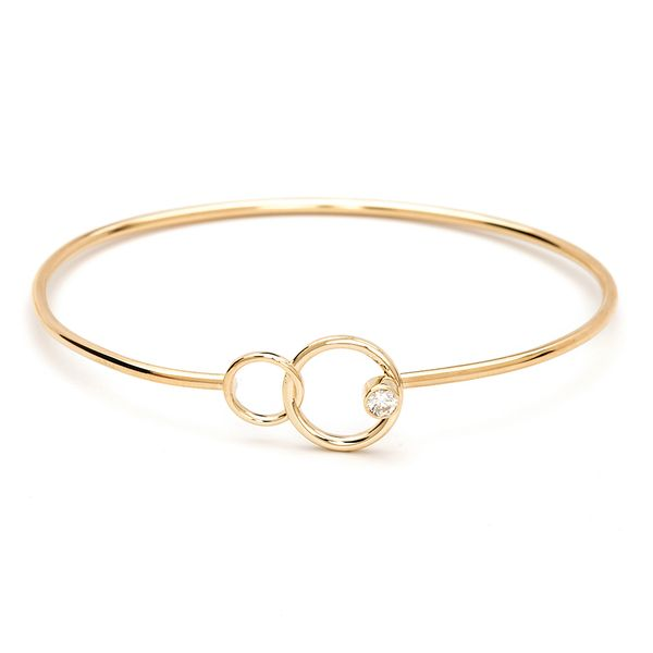 You + Me Single Diamond Bangle Bracelet in Yellow Gold Bremer Jewelry Peoria, IL
