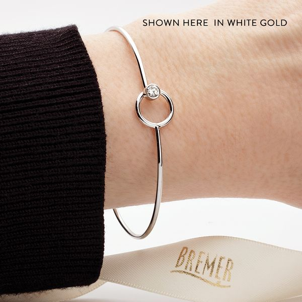 You + Me Single Diamond Bangle Bracelet in Yellow Gold Image 3 Bremer Jewelry Peoria, IL