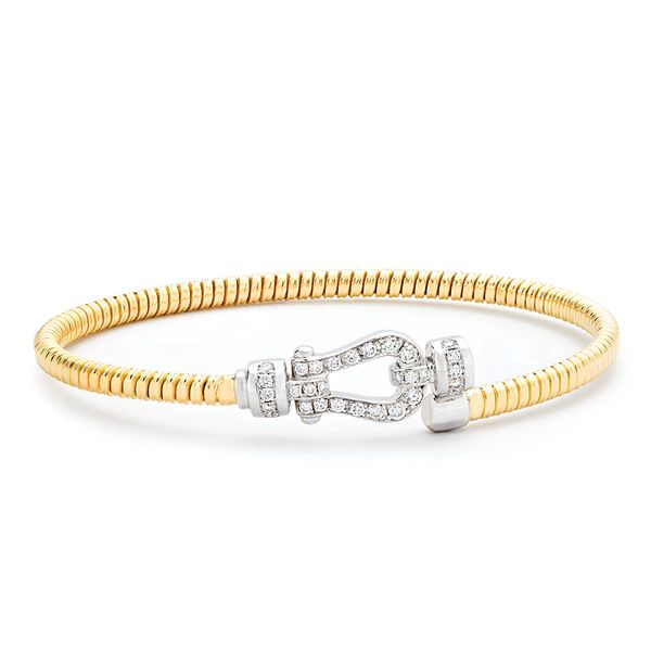 Flexible Diamond Buckle Bangle Bracelet in Yellow Gold Bremer Jewelry Peoria, IL