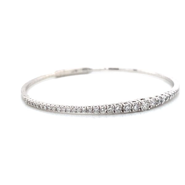 Graduated Diamond Bangle Bracelet in White Gold (1.50 ctw) Image 2 Bremer Jewelry Peoria, IL