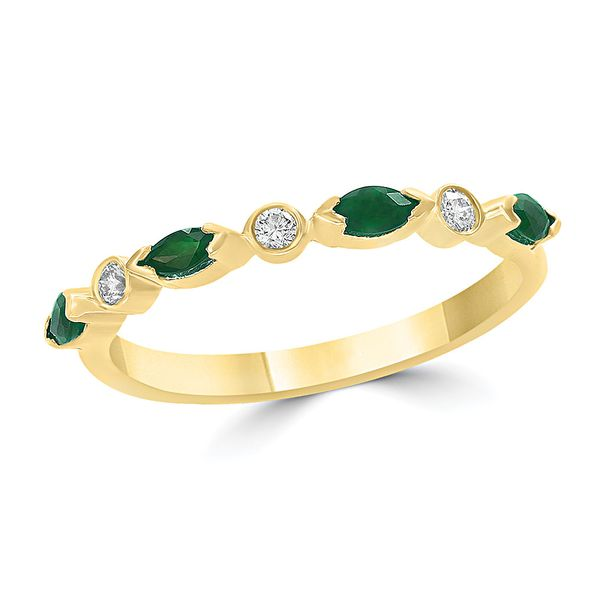 Emerald and Diamond Stacking Ring in Yellow Gold Bremer Jewelry Peoria, IL