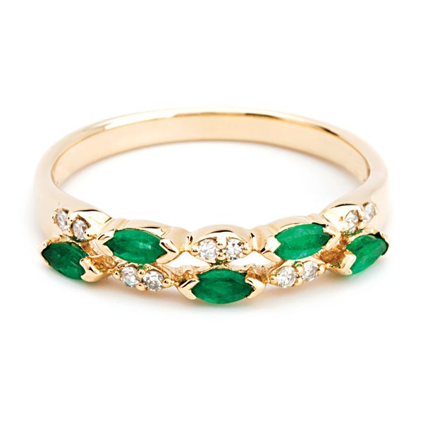 Two-Row Emerald and Diamond Ring in Yellow Gold Bremer Jewelry Peoria, IL