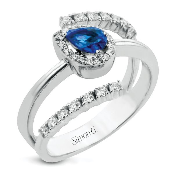 Simon G. Sapphire and Diamond Open Bypass Ring in White Gold Bremer Jewelry Peoria, IL