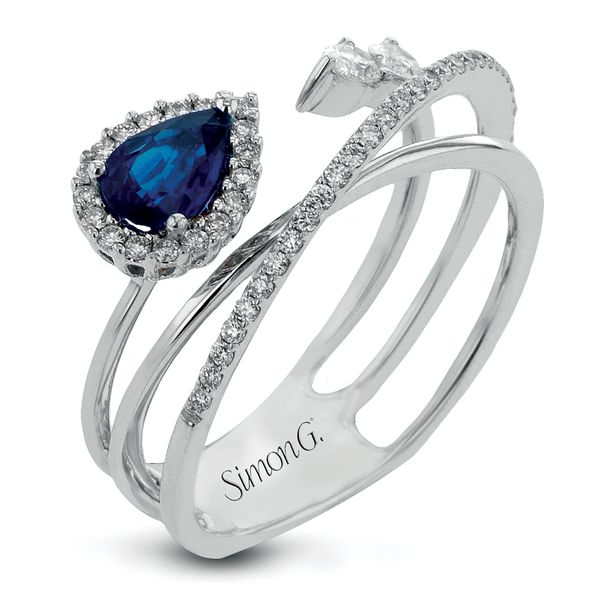 Simon G. Asymmetrical Sapphire and Diamond Wide Ring in White Gold Bremer Jewelry Peoria, IL