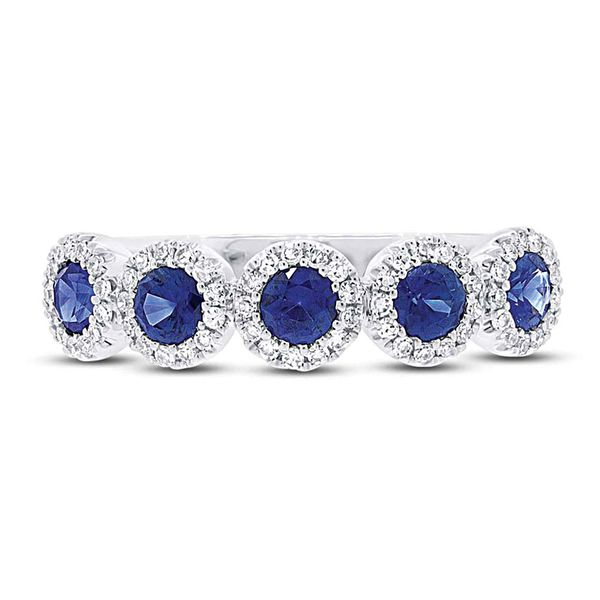 Five-Sapphire and Diamond Halo Ring in White Gold Bremer Jewelry Peoria, IL