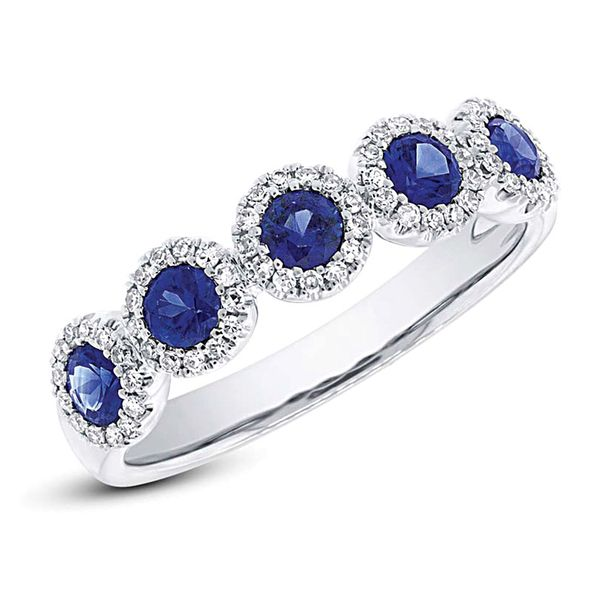 Five-Sapphire and Diamond Halo Ring in White Gold Image 2 Bremer Jewelry Peoria, IL