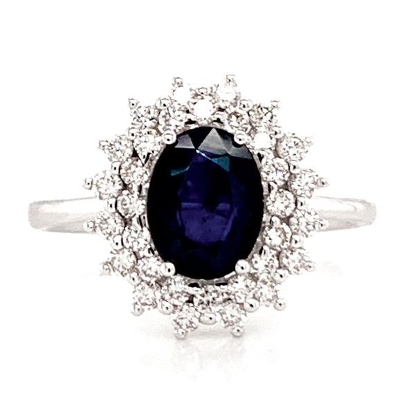 Oval Sapphire and Diamond Double Halo Ring in White Gold Bremer Jewelry Peoria, IL