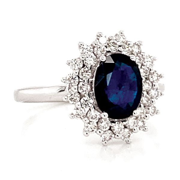 Oval Sapphire and Diamond Double Halo Ring in White Gold Image 2 Bremer Jewelry Peoria, IL