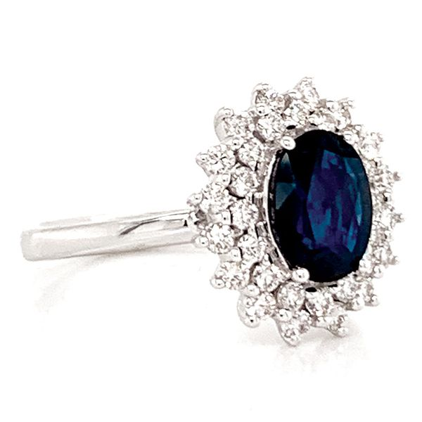 Oval Sapphire and Diamond Double Halo Ring in White Gold Image 3 Bremer Jewelry Peoria, IL