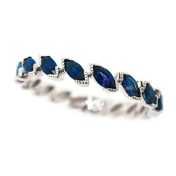 Diagonal Marquise Sapphire Ring in White Gold Bremer Jewelry Peoria, IL